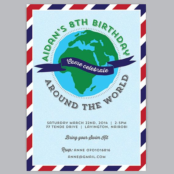 AROUND THE WORLD Custom Printable Birthday Invitation | Around the worlds, The o'jays and Paper