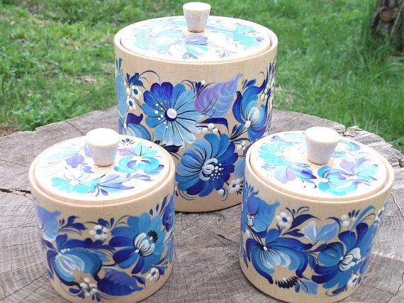 Wooden kitchen canisters  Set of 3 hand-painted kitchen jars