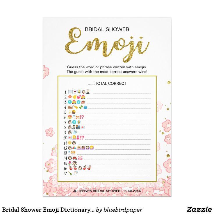 Bridal Shower Emoji Dictionary Game | Gold Pink