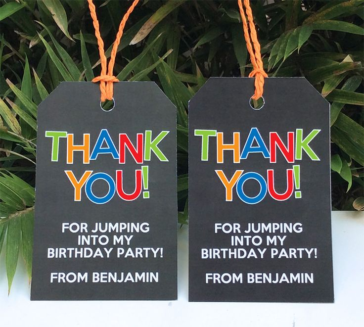 Trampoline Party Favor Tags | Thank You Tags | INSTANT DOWNLOAD via SIMONEmadeit.com