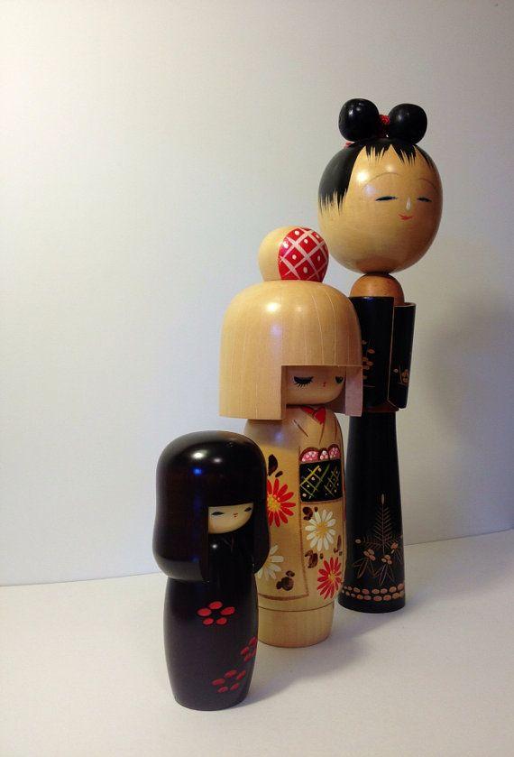 Vintage set of 3 Kokeshi Dolls