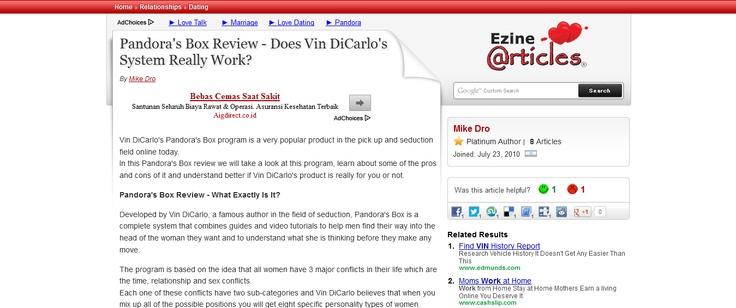 Pandora's Box Review - Does Vin DiCarlo's System Really Work? --> http://ezinearticles.com/?Pandoras-Box-Review---Does-Vin-DiCarlos-System-Really-Work?=6339281