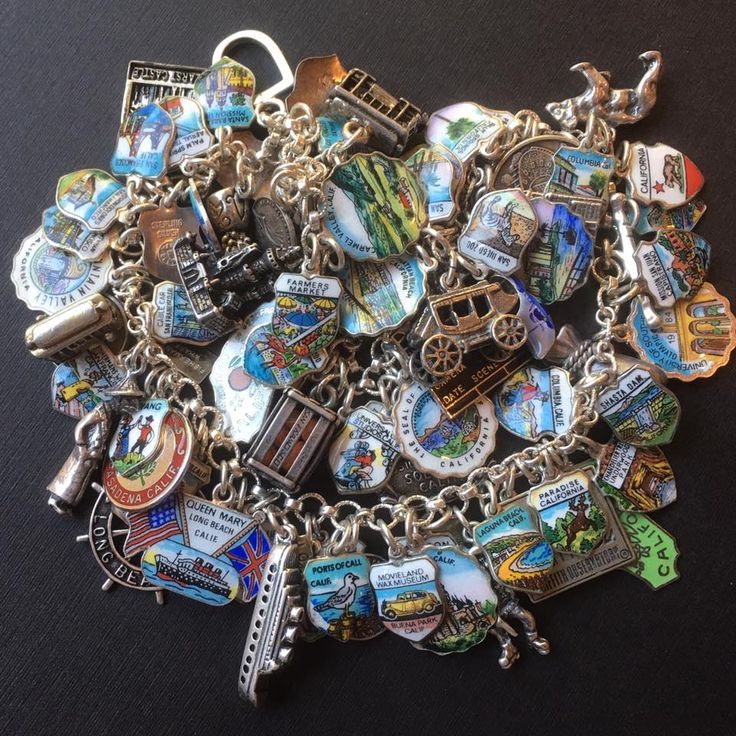 eCharmony Charm Bracelet Collection - California Vintage Enamel Travel Charms