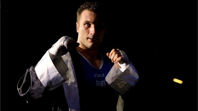 Roberto Cammarelle of Italy reacts after he was declared the winner against Magomedrasul Medzhidov of Azerbaijan during their Men's Super Heavy (+91kg) Boxing semifinal bout on Day 14 of the London 2012 Olympic Games.