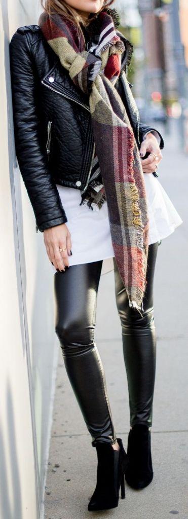 #fall #fashion / leather + leather