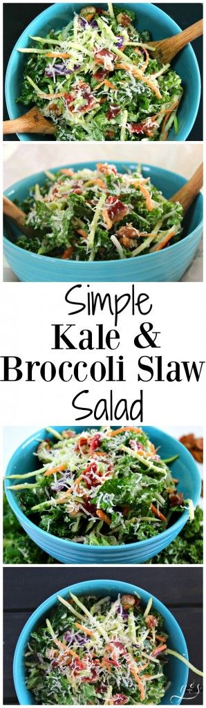 This healthy and easy salad is the perfect addition to any meal! Clean eating and gluten-free can be delicious! This salad is packed with whole foods such as kale, broccoli, pecans, and turkey bacon. Perfect as a light lunch or even a meatless Monday dinner option! This is the best kale and broccoli slaw combination yet! http://www.groundedandsurrounded.com/recipe/kale-and-broccoli-slaw-salad/ 