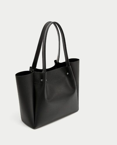 TOTE BAG WITH METAL APPLIQUÉ DETAIL-View all-BAGS-WOMAN   ZARA Canada