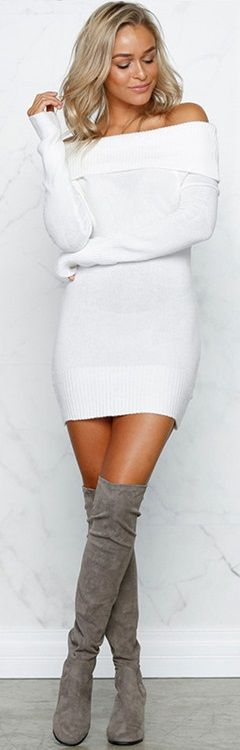 Fashion Slash Neck Long Sleeve Mini Bodycon Sweater Dress