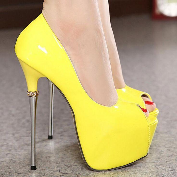 2016 new Women's Pumps fashion 16cm high heels party shoes Pumps Stilettos heels Platform Peep Toe Ladies candy color thin heels alishoppbrasil