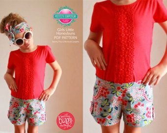 Pattern Emporium Girls Shorts sewing pattern (Little Honeybuns). Flat front with elastic back. Optional pockets.