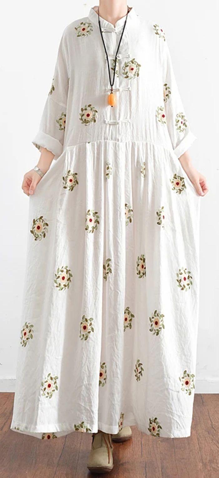 New White Prints Cotton Maxi Dress Plus Size Casual Linen Dresses Long Sleeve Gowns Maxi Dress Cotton Plus Size Maxi Dresses Long Linen Dress [ 1522 x 700 Pixel ]