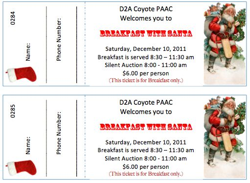 Ticket templates for a Breakfast with Santa event! Download and - printable ticket template free