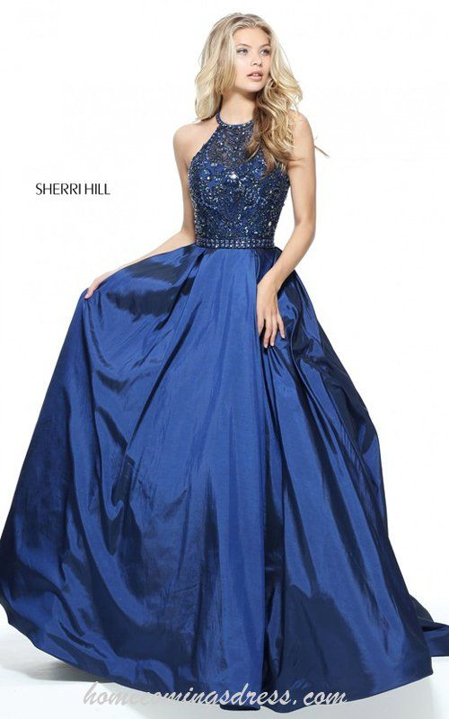 Halter Sherri Hill 51242 A Line Beaded Taffeta Prom Dress