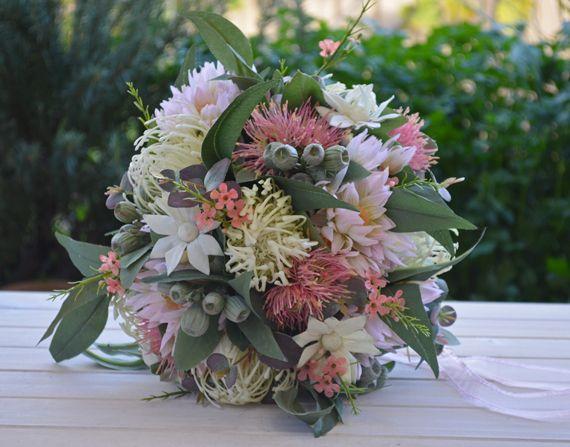 Silk Wedding Bouquet Australian Native Pink Sage Cream - Nellie