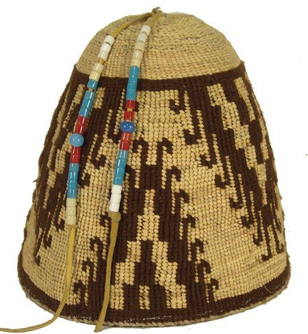 """Unknown Yakama artist, Twined Woman's Hat, late 20th century, 7"""" x 8"""""""