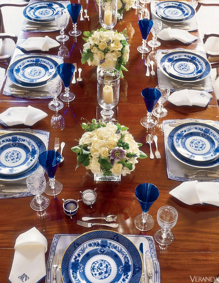 Blue and White porcelain in VERANDA. Interior Design by Kelli Ford and Kirsten Fitzgibbons.