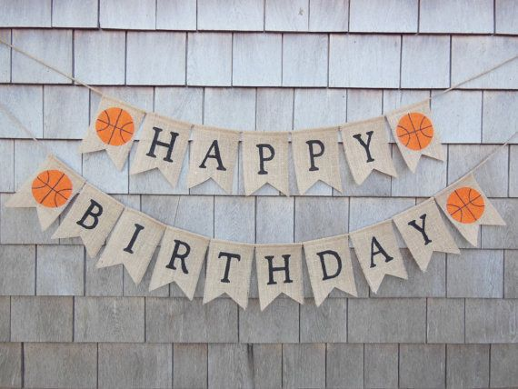 This listing is a for a Happy Birthday burlap banner with basketball! Banner details: -burlap pennants each measure 4.5 inches wide by 6.5