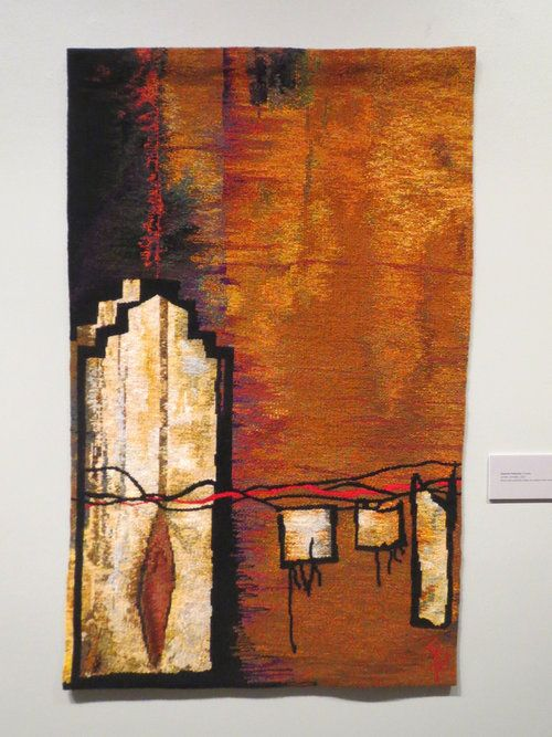 Suzanne Paquette, Cordes Sensibles, 60 x 36 inches, wool and synthetic fibers on cotton seine twine, tapestry weaving  Rebecca Mezoff reviews the American Tapestry Alliance's premier juried show, ATB11 in San Jose, CA on her blog.  tapestry weaving   weaving tapestry   ATB11