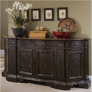 Lovely Painted Buffet | Chests And Consoles Hand Painted Black Serpentine Credenza  By Hooker .
