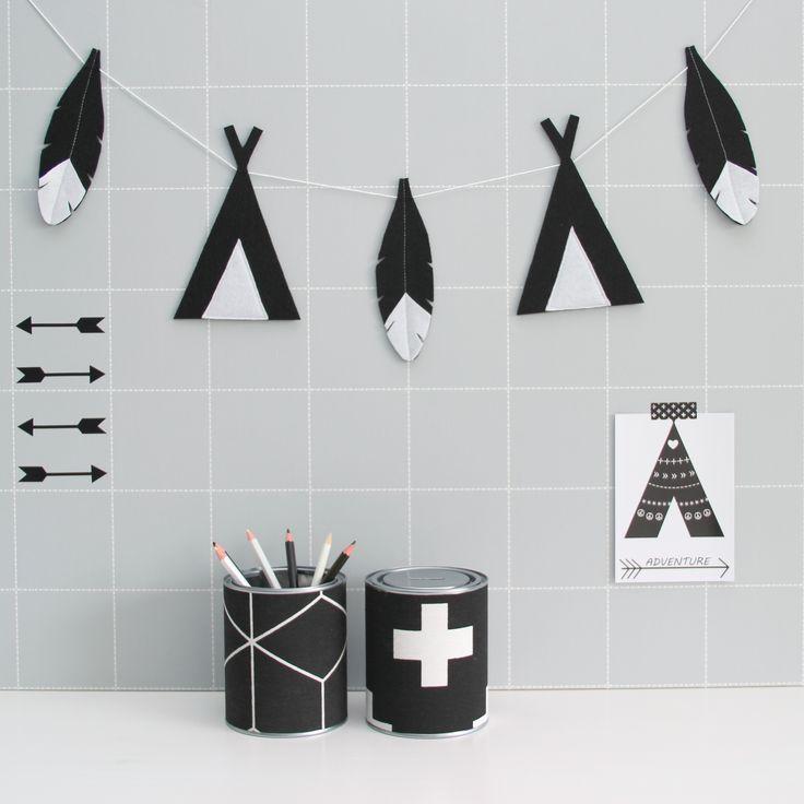 Vilten tipi en veren slinger van Kidsware zijn stoer voor op de babykamer en kinderkamer