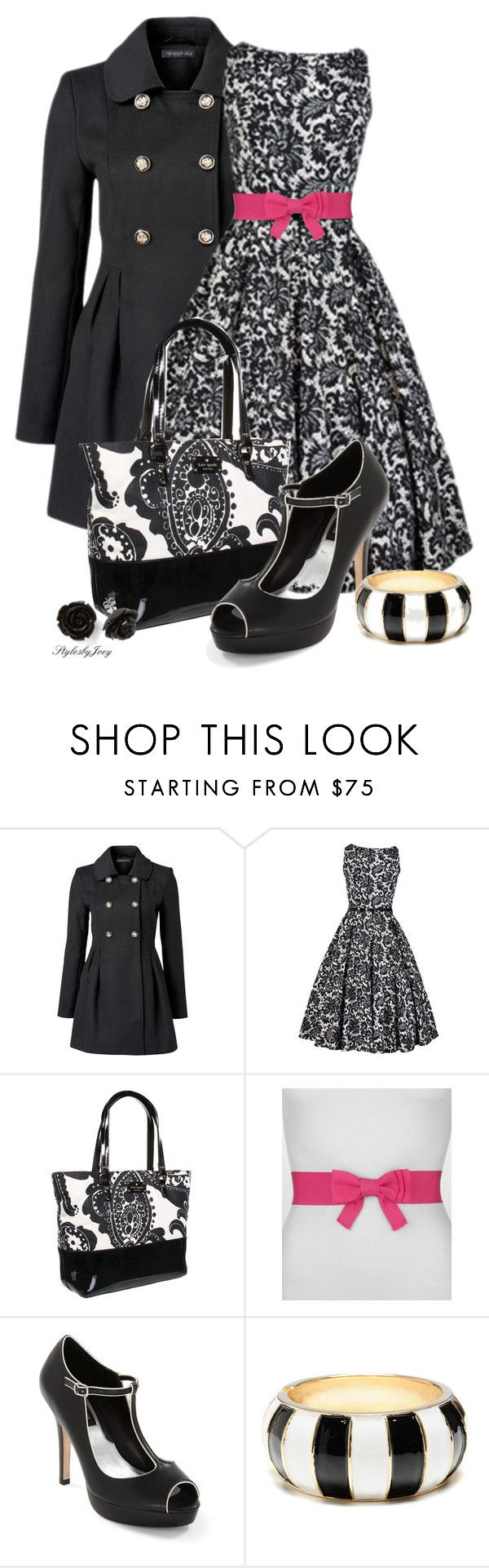 """Pop of Pink"" by stylesbyjoey ❤ liked on Polyvore featuring Forever New, Kate Spade, Lanvin, White House Black Market, Amrita Singh, floral dresses, black and white, heels, paisley bags and coats"