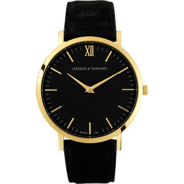 Larsson & Jennings Läder | Black Watch found on Polyvore featuring jewelry, watches, accessories, bracelets, bracelet jewelry, bezel watches, black dress watch, black watches and dress watches