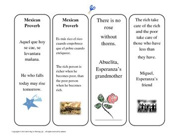 8 free reproducible bookmarks with quotes from Esperanza Rising. Includes 7 Ways to Use Bookmarks in the Classroom.