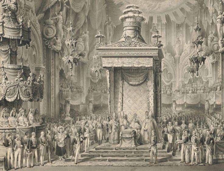 Alessandro Sanquirico (1777-1849) The Coronation of Emperor Ferdinand I as King of Lombardy-Venetia, in the Duomo in Milan, 1 September 1838 (30 x 39 cm)