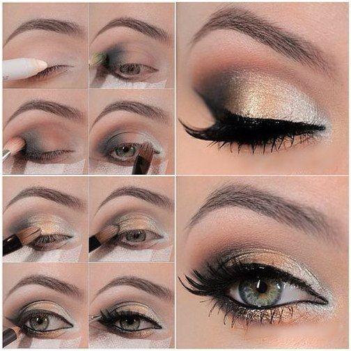 Golden smokey eye makeup steps | Eyes Makeup Steps | Pinterest