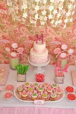pink and green paisley korean dohl first birthday party celebration dessert table flower chandelier over dessert table