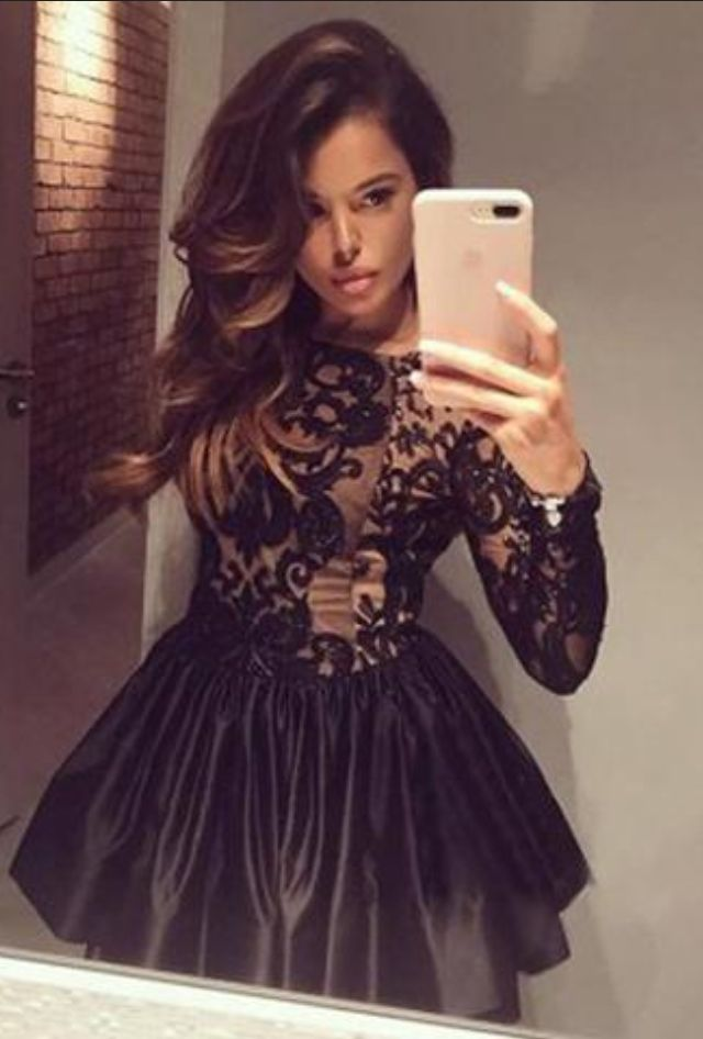 Black Boat Long Sleeve Short Prom Dress,Ball Gown #Short Homecoming Dress #HomecomingDresses #Short PromDresses #Short CocktailDresses #HomecomingDresses