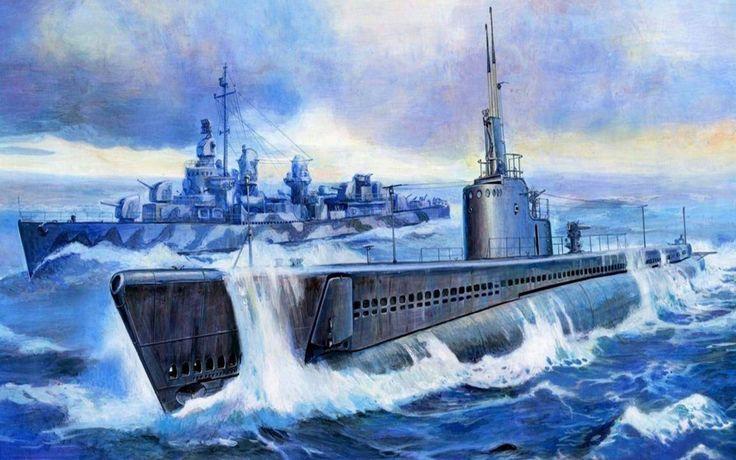 Gato class US Submarine and a Fletcher class Destroyer