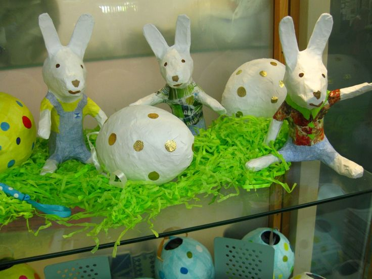 Paper mache bunnies and eggs