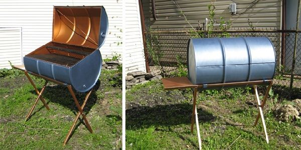 grill out of metal barrels