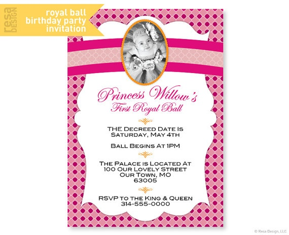 15 best royal ball party images on pinterest ball birthday royal ball party invitation princess party in pink and orange by resadesign on stopboris Choice Image