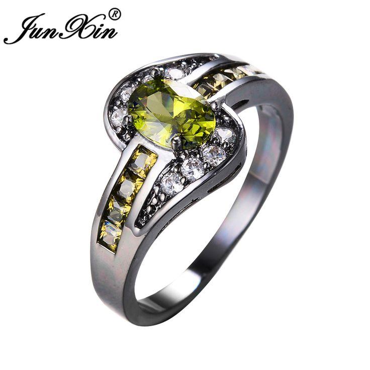 JUNXIN Peridot Oval Ring Fashion White & Black Gold Filled Jewelry