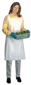 "Radnor® 28"" X 46"" White 1 mil Light Weight, Embossed Polyethylene Disposable Bib Apron With Top Loop - Side Ties"