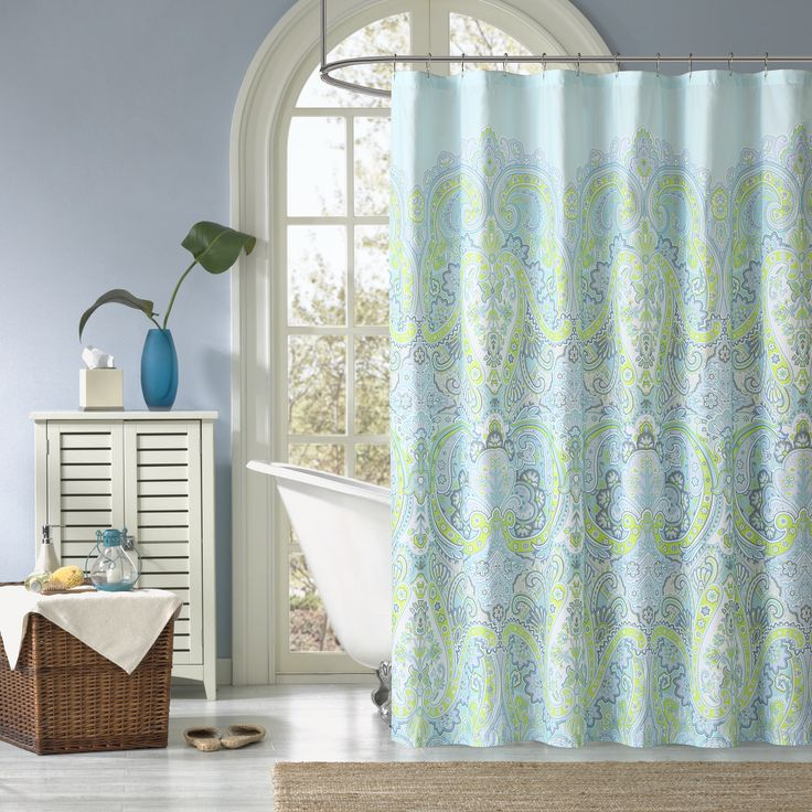 Carly will brighten up your bathroom in style. This aqua blue shower curtain features a green, blue, and teal paisley print that adds style and flair to your current décor.
