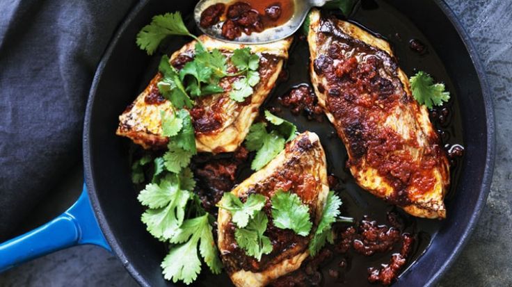 Neil Perry's pan-fried snapper in harissa
