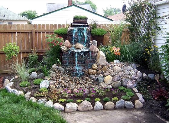 Backyard waterfall ideas pondless waterfall the rock for Home garden waterfall design