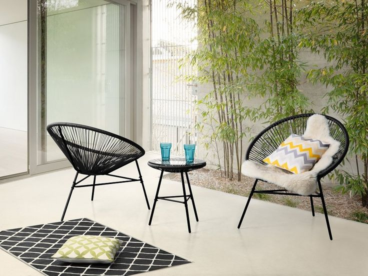 Black Metal Garden furniture - Patio Set - Outdoor Bistro Set - Table and 2 Chairs - Black - ACAPULCO for 199 GBP | Follow Beliani UK for more patio inspirations! #patio #blackfurniture