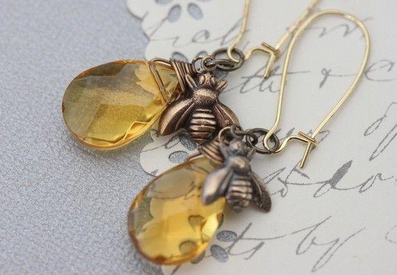 Honey Bee jewelry  Honey bee earrings  bee charm  by madebymoe, $24.00