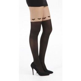 Collants Glamour Sexy Pin-Up Effet Jarretière Coeurs