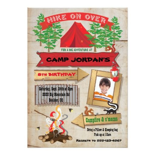 420 best camping and sleepover birthday party invitations images rustic camping birthday party photo invitation stopboris Image collections