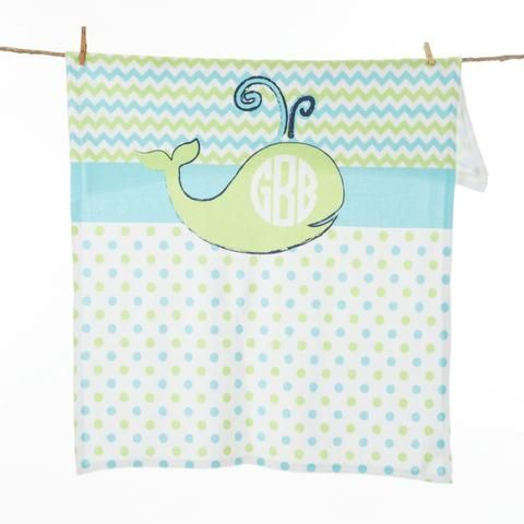 Lime Whale Dot Chevron Initial Blanket