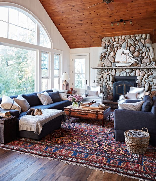 Explore 80 Of The Best Canadian Cottage Rooms From House Home Contemporary Home Decor Cozy House Rugs In Living Room