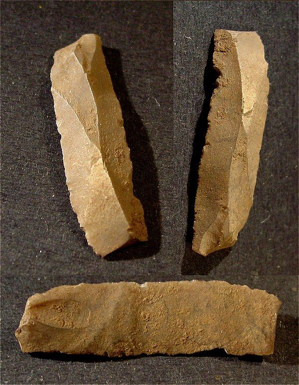 This is an Magdalenian Blade from the Upper Paleolithic (about 19,000 to about 9,000 yrs ago). Description from stoneageartifacts.com. I searched for this on bing.com/images
