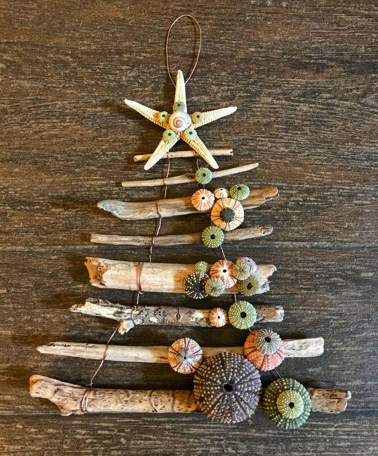 Seashells Home Decor Christmas Tree, Urchins, starfish  Handmade by AmandinesArt