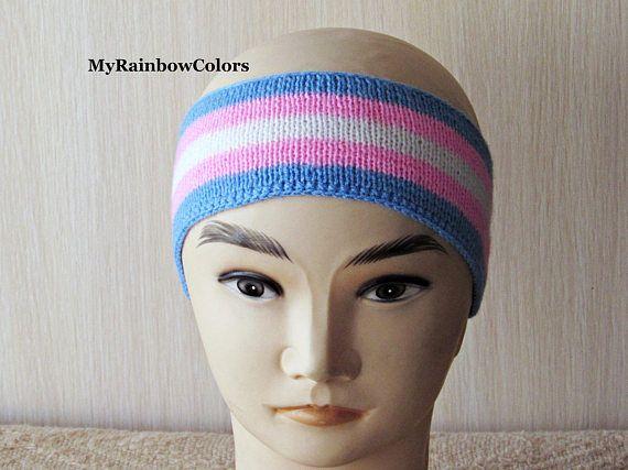 Trans Pride Headband Transgender Headband Light Knit Ear