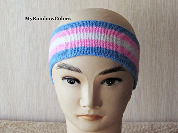 Trans Pride Headband Transgender Headband Light Knit Ear